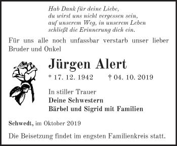 Traueranzeige Jürgen Alert