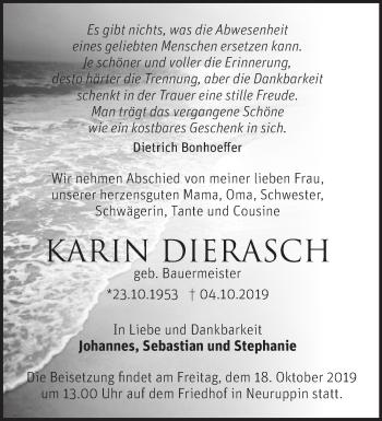 Traueranzeige Karin Dierasch