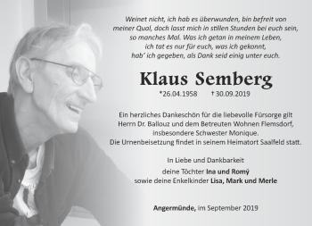 Traueranzeige Klaus Semberg