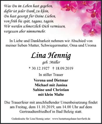 Traueranzeige Lina Hennig