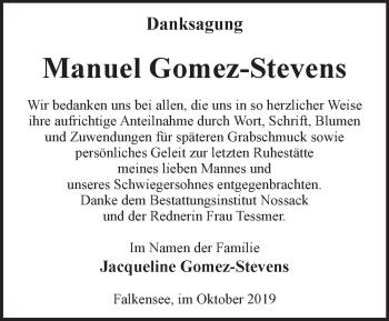 Traueranzeige Manuel Gomez-Stevens
