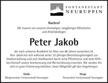 Traueranzeige Peter Jacob