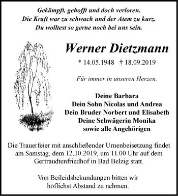 Traueranzeige Werner Dietzmann