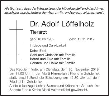 Traueranzeige Adolf Löffelholz