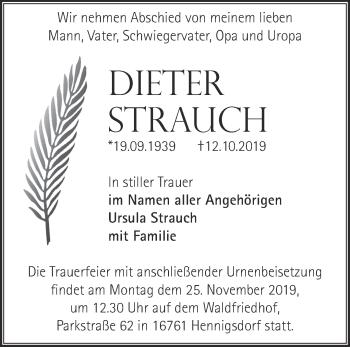 Traueranzeige Dieter Strauch