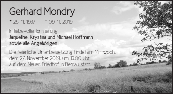 Traueranzeige Gerhard Mondry