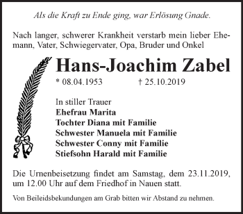 Traueranzeige Hans-Joachim Zabel