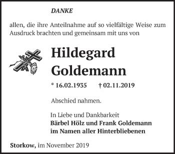 Traueranzeige Hildegard Goldemann
