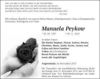 Traueranzeige Manuela Peykow