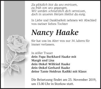 Traueranzeige Nancy Haake