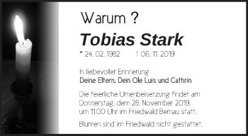 Traueranzeige Tobias Stark