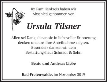 Traueranzeige Ursula Tilsner
