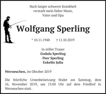 Traueranzeige Wolfgang Sperling