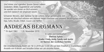 Traueranzeige Andreas Bergmann