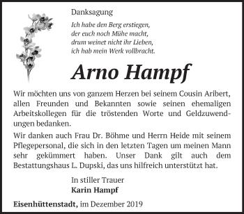 Traueranzeige Arno Hampf