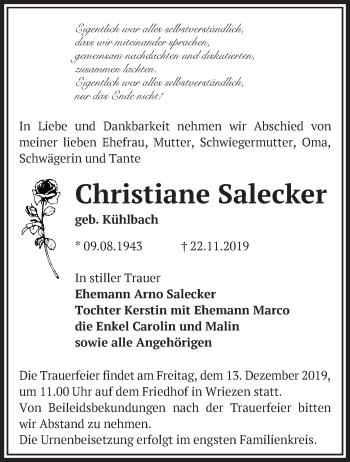 Traueranzeige Christiane Salecker
