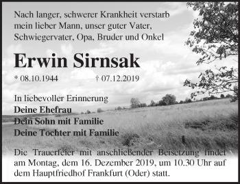 Traueranzeige Erwin Sirnsak