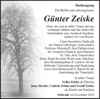 Traueranzeige Günter Zeiske