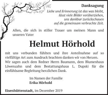 Traueranzeige Helmut Hörhold