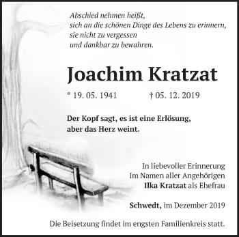 Traueranzeige Joachim Kratzat