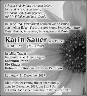Traueranzeige Karin Sauer