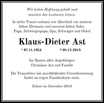 Anzeige Klaus-Dieter Ast