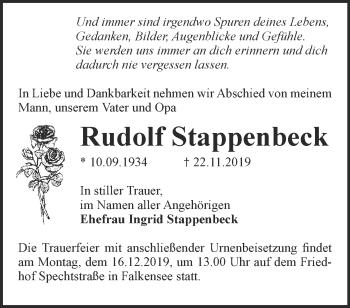 Traueranzeige Rudolf Stappenbeck