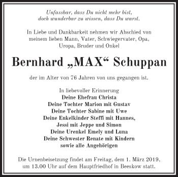 Traueranzeige Bernhard Schuppan