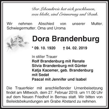 Traueranzeige Dora Brandenburg