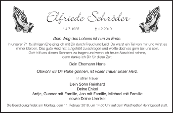 Traueranzeige Elfriede Schröder