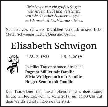 Traueranzeige Elisabeth Schwigon