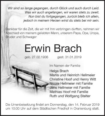 Traueranzeige Erwin Brach