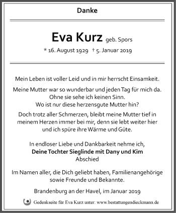 Traueranzeige Eva Kurz