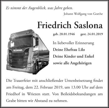 Traueranzeige Friedrich Saslona