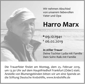 Traueranzeige Harro Marx