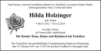 Traueranzeige Hilda Holzinger