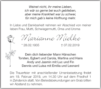 Traueranzeige Marianne Mielke