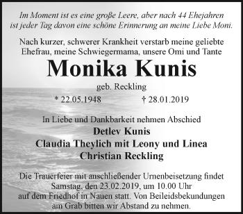 Traueranzeige Monika Kunis