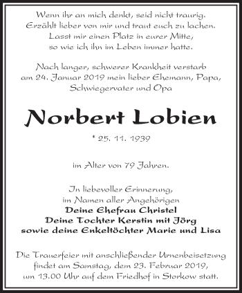Traueranzeige Norbert Lobien