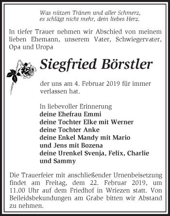 Traueranzeige Siegfried Börstler