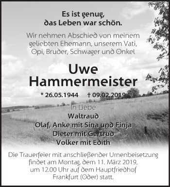 Traueranzeige Uwe Hammermeister