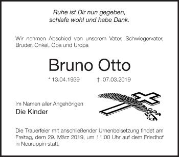 Traueranzeige Bruno Otto