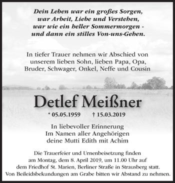 Traueranzeige Detlef Meißner