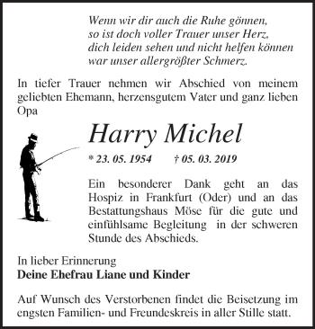 Traueranzeige Harry Michel