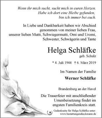 Traueranzeige Helga Schläfke