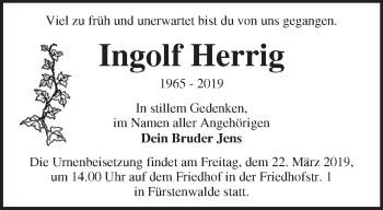 Traueranzeige Ingolf Herrig