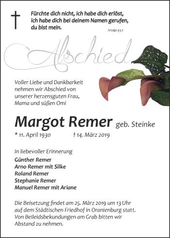 Traueranzeige Margot Remer