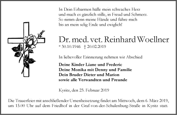 Anzeige Reinhard Woellner
