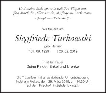 Traueranzeige Siegfriede Turkowski