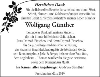 Anzeige Wolfgang Günther